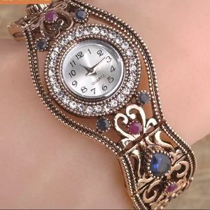 Accessories - Vintage Style Watch with Crystals
